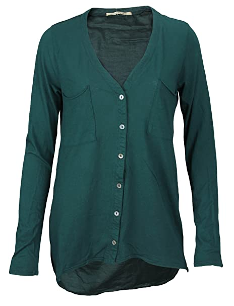 18c02c8aac86b6 Big Star Women's Dark Green Long Sleeve Button Down Blouse at Amazon ...