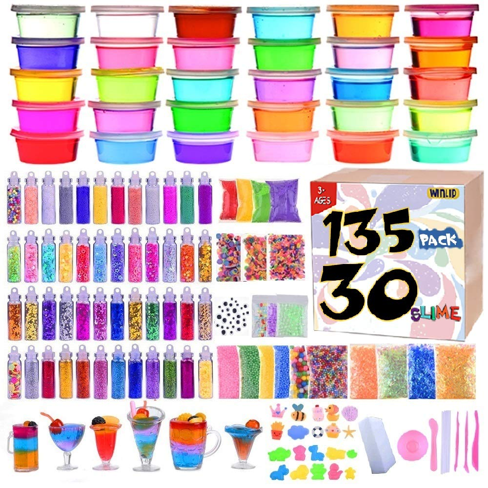 Slime Supplies Kit, 135 Pack Slime Making Kit 30 Crystal Slime, Glitter Jars, Charms, Sugar Paper, Foam Beads, Fishbowl Beads, Toy Cups, Slices, Air Dry Clay and Tools for Kids Girls by WINLIP 30 pack slime kit