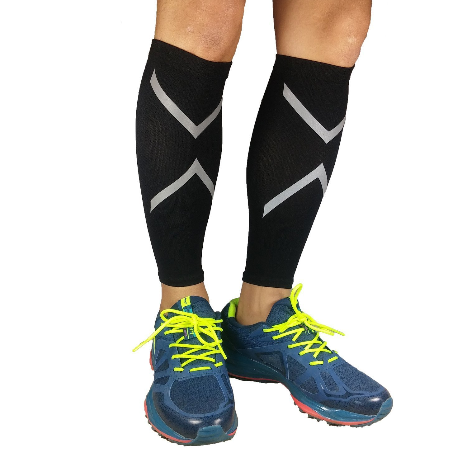 Calf Compression Sleeve, JAMIK Footless Socks Shin Splint / Leg Compression Sleeves Calves & Leg Cramps for Runners (1 Pair) by Generic