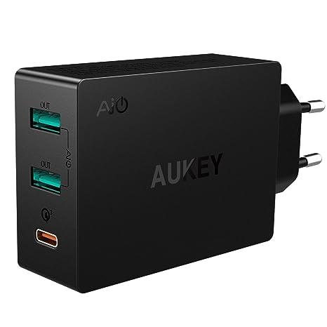 Aukey USB C, cargador USB de 3 puertos con cargador de 42 W ...