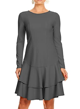 558c9ed6ab53 Simlu Long Sleeve Bodycon Dresses for Women with Ruffle Hem - Made in USA  (Size