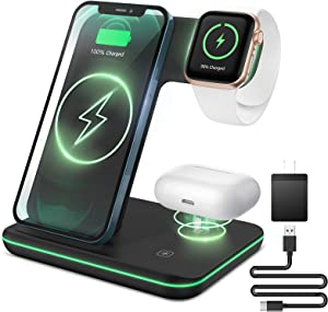 Liwin Wireless Charger, 3 in 1 Qi-Certified 15W Fast Charging Station Compatible with All Apple Watch, AirPods Pro 2, iPhone 12/11/11 Pro/8/X, Stand Compatible with Samsung S21 S10 S9 S8, Black