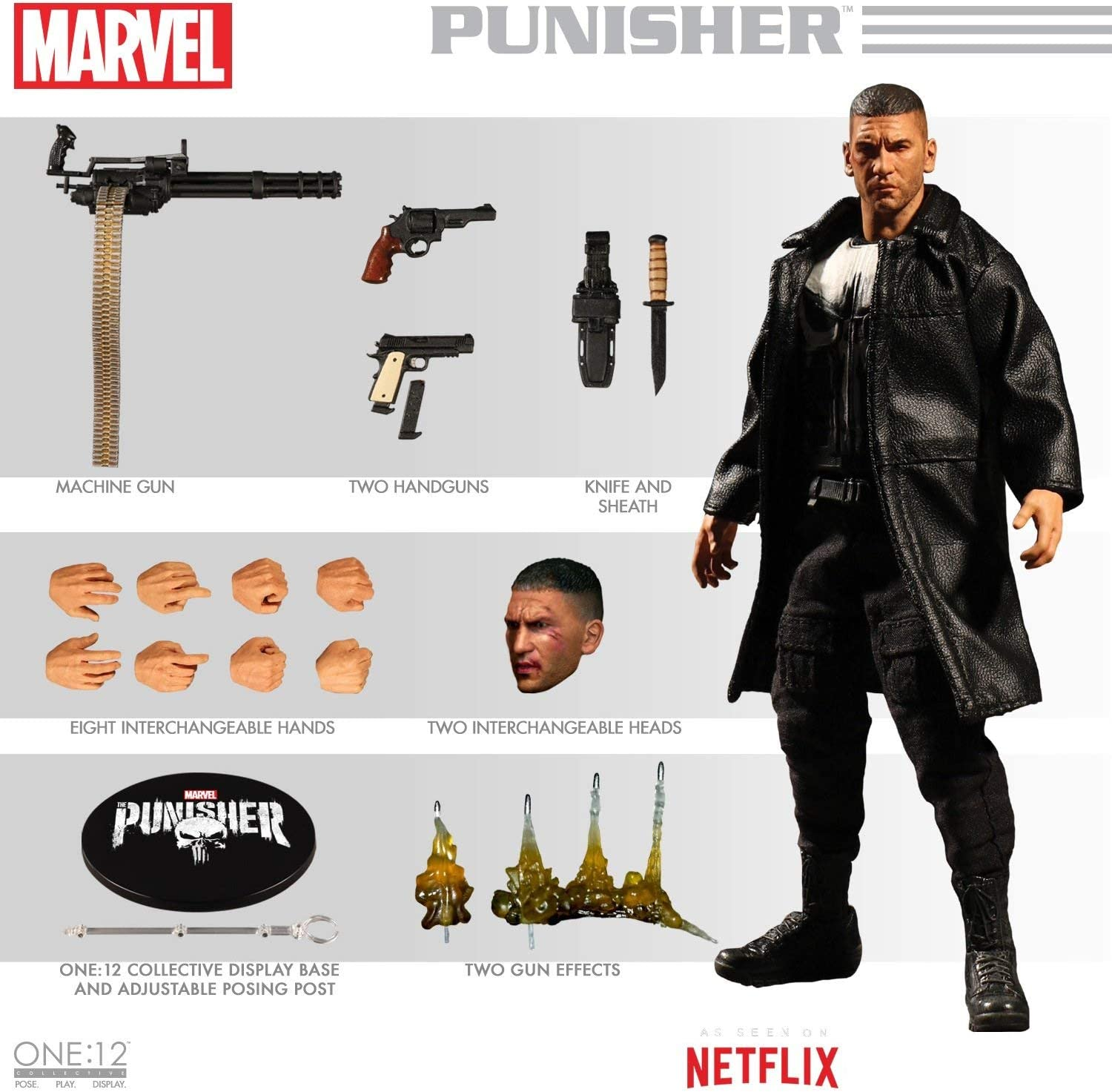 Mezco MAR188817 Toys One: 12 Collective: Marvel Netflix Punisher Action Figure, Multi-Colored