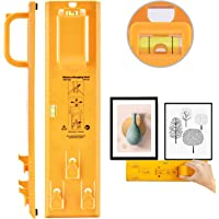 Picture Hanging Kit, Picture Frame Hanger Tool, Picture Hanger Tools with Level Suitable for All Wall Materials, Picture Frame Ruler for Marking Position, Hooks, Nails and Hanger Level