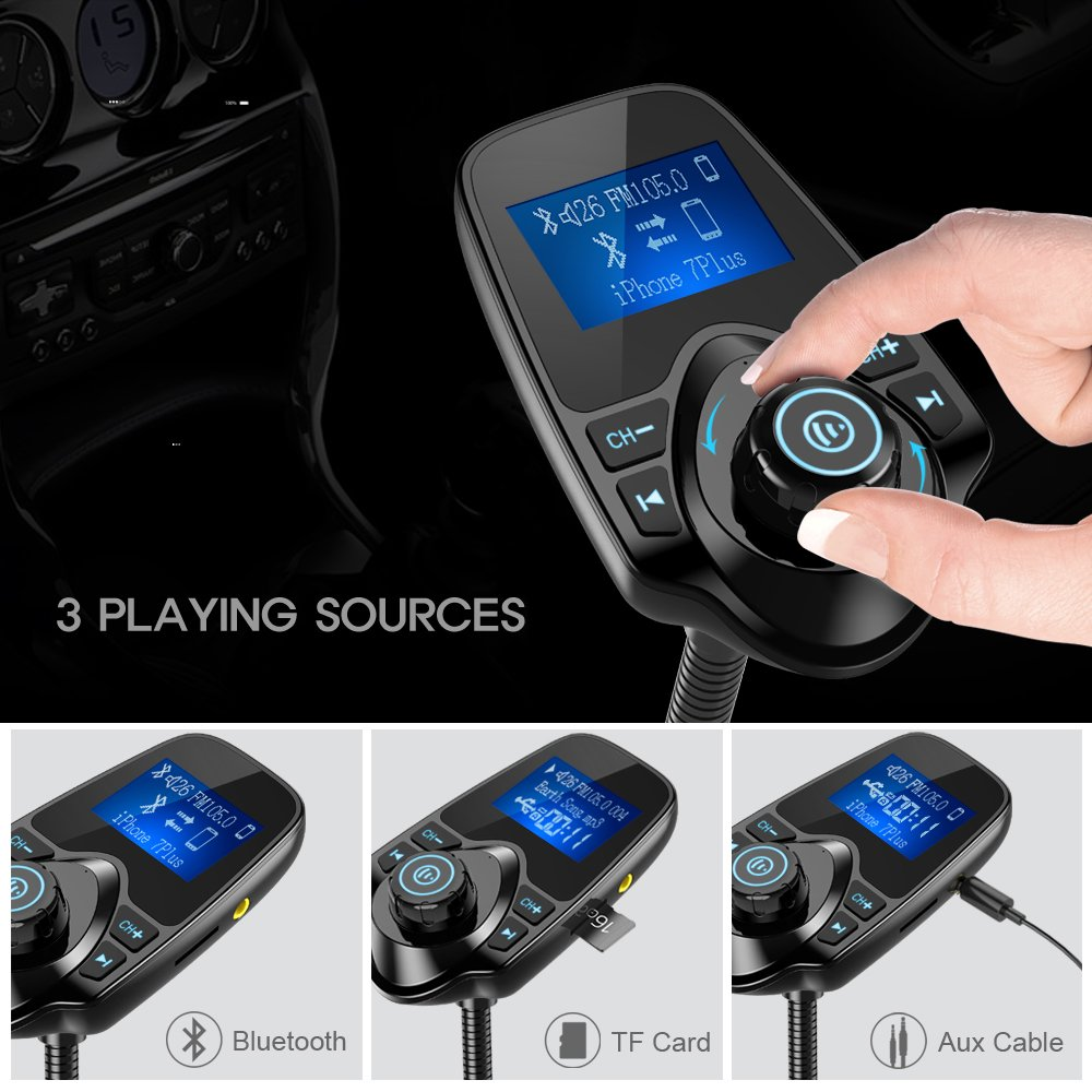 nulaxy 2017 wireless in car bluetooth fm transmitter radio. Black Bedroom Furniture Sets. Home Design Ideas