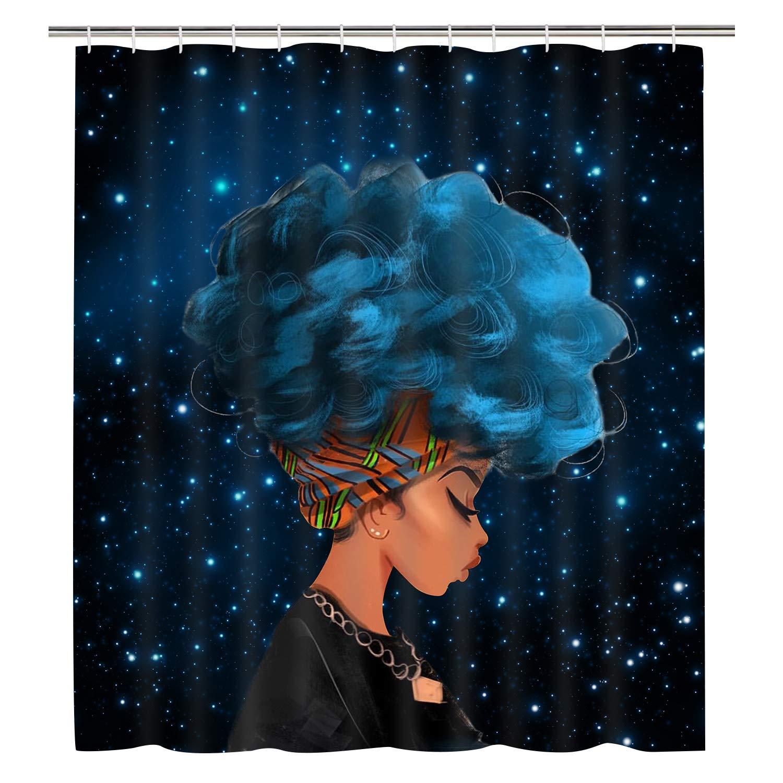 "Sunm boutique Bathroom Shower Curtain Bathroom Curtain Durable Bath Curtain Bathroom Accessories Ideas Kitchen Window Curtain (African Girl, 70"" L × 69"" W)"