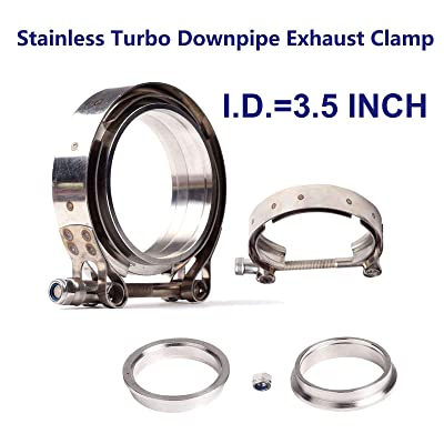 "JIUAUTOPARTS 3.5"" Inch V Band Clamp with Stainless Steel Flanges for Turbo, Downpipes,Exhaust Systems 3.5in 89mm SS Vband, V-Band Flange Kit: Automotive"