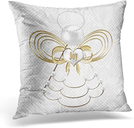 Amazon Com Emvency Throw Pillow Cover White Holiday Pearls And Gold Metallic Christmas Angel Of Decorated Decorative Pillow Case Home Decor Square 18 X 18 Inch Pillowcase Home Kitchen