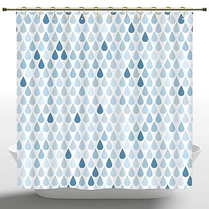 Artistical Shower Curtain By IPrintFarmhouse Decor StallMinimalist Rain Drops Motive InTones Tears