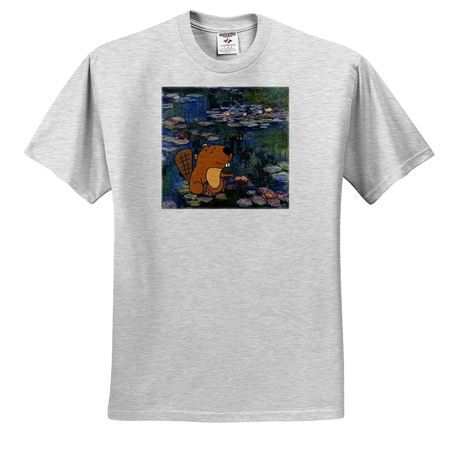 Funny Cute Beaver in Monet Water Lilies Art ts/_317013 3dRose All Smiles Art Funny Adult T-Shirt XL