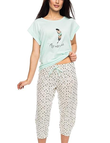 Rossli SAL-PY 1056 Pijama De Dos Piezas Para Mujeres Camiseta Kimono Manga Corta Pantalón 3/4, beige-menta, S: Amazon.es: Ropa y accesorios