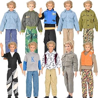 3 x Ensemble chemise manches longues tenue vêtements pantalons pour Ken poupées choisi de manière aléatoire (n'est pas MATTEL)