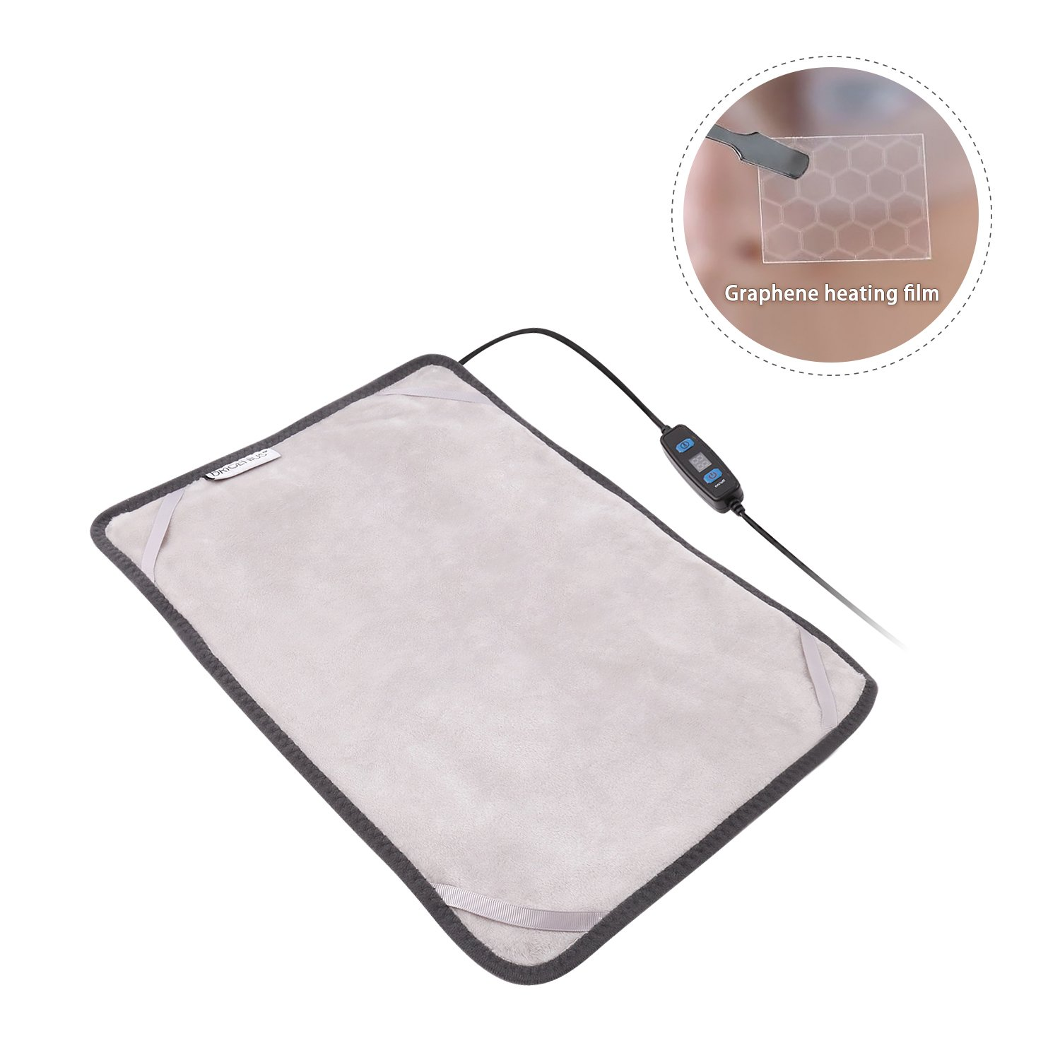 Graphene Far Infrared Electric Heating Pad, 3 Heat-Settings/ 12 Volt Output, 12*15 Inches Small Heating Pad Wrap for Neck Shoulder Cramps Back Pain Relief
