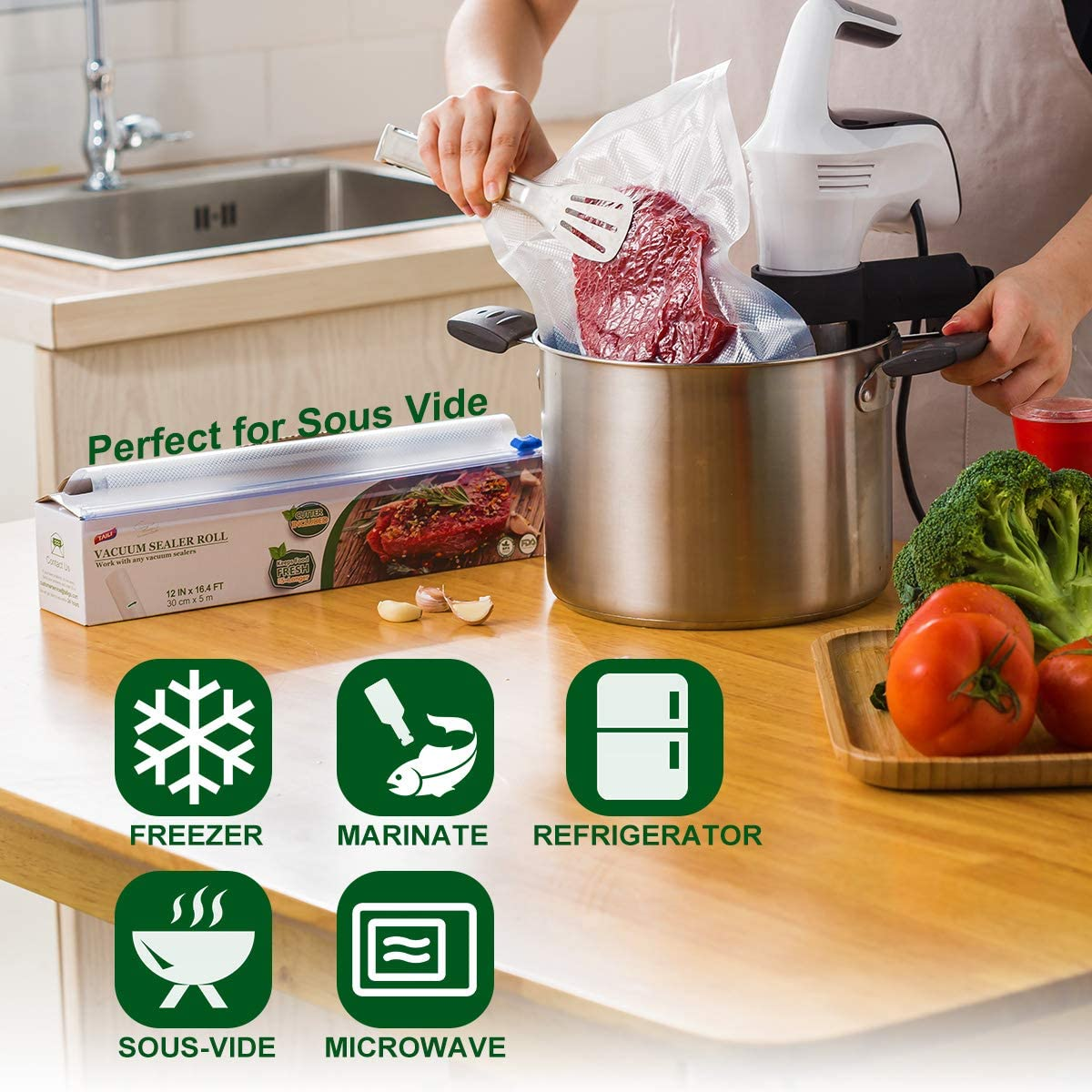 TAILI Sac sous Vide Alimentaire avec Bo/îte de Coupe Pack de 3 Rouleaux 20cmx5M pour Appareil de Mise sous Vide Economiseur de Nourriture et sous Vide Cuisine sans BPA Approuv/é par la FDA