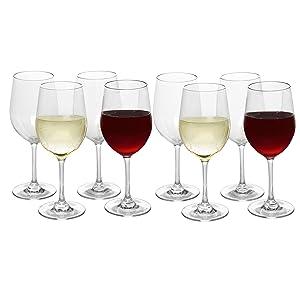 Unbreakable Wine Glasses 12 ounces - Set of 8 - Tritan - Shatterproof, Reusable, Dishwasher Safe
