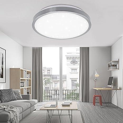 Vgo plafón LED salón lámpara de cocina Starlight efecto techo iluminación lustre dormitorio comedor de bajo consumo (16W Redonda Blanco Frío)
