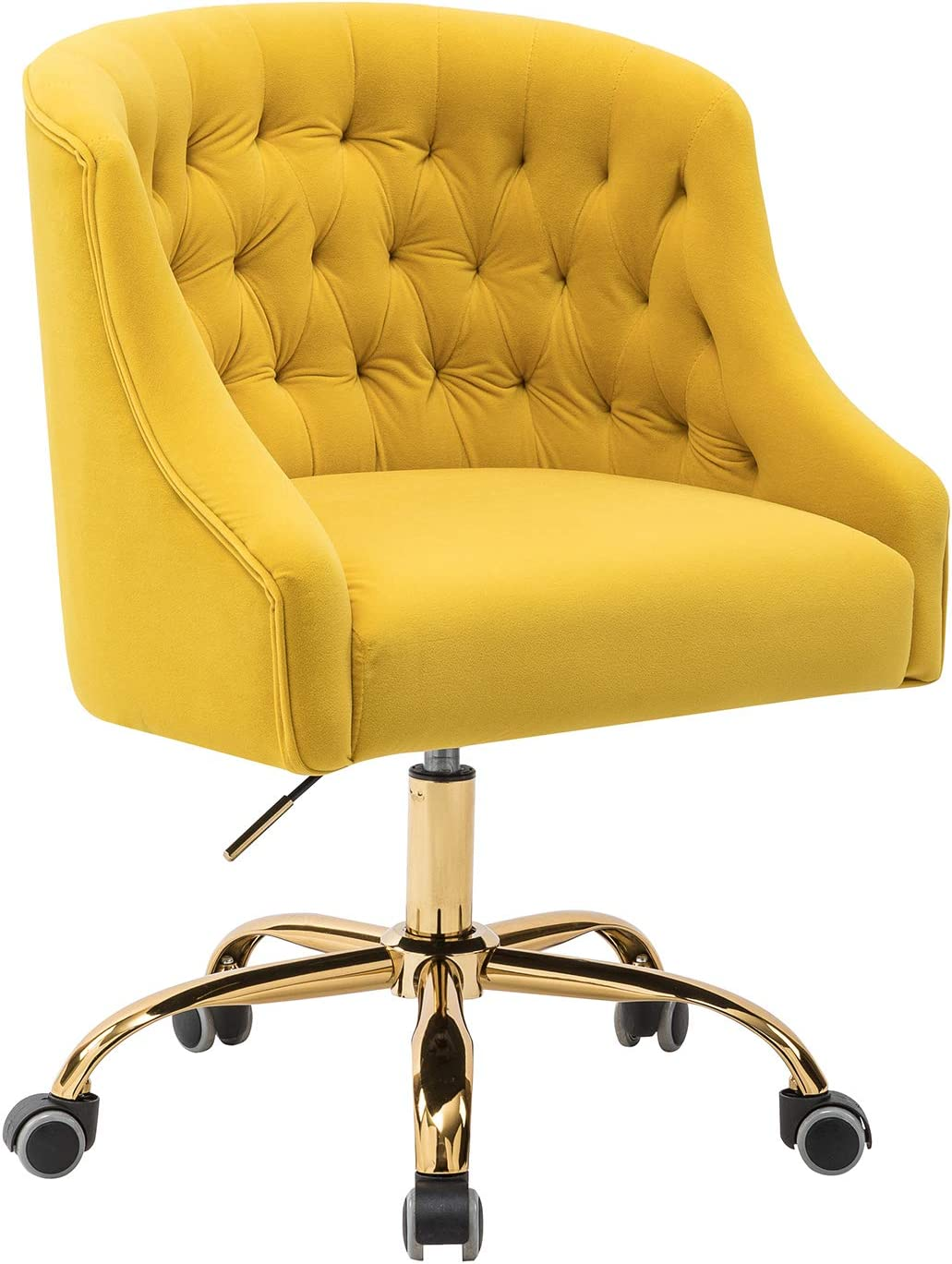 Amazon Com Lydia Tufted Velvet Upholstery Task Chair For Home Office Yellow Kitchen Dining