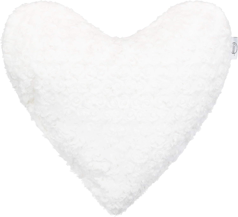 Corazón Almohada Rosas de/Flores Decoración Almohada 3D Cojín (, Microfibra, Blanco Crema, 40 x 40 cm
