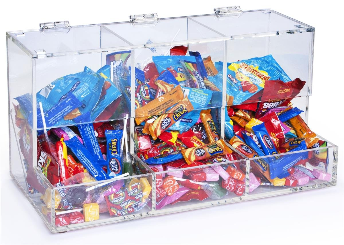 Displays2go 3-Compartment Acrylic Candy Bin, Clear