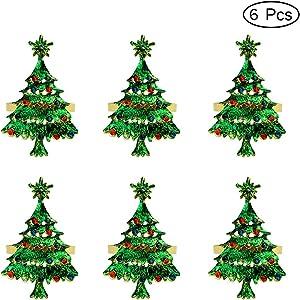 Getfitsoo Christmas Tree Napkin Rings, Napkin Holder for Wedding Christmas Party Dinner Table Decor 6 Pcs (Green Christmas Tree)