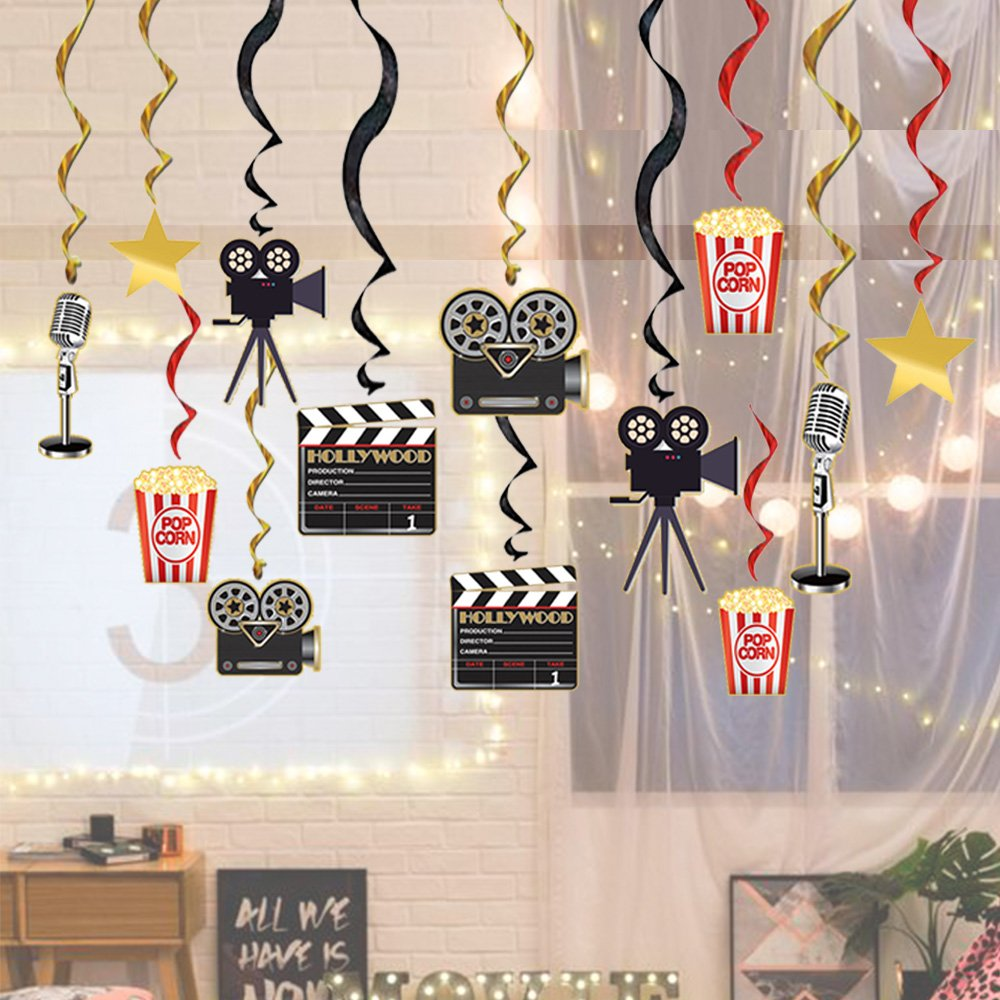 Movie Night Party Supplies Hanging Swirls Decorations - 30pcs Hollywood Birthday Movie Party Decorations