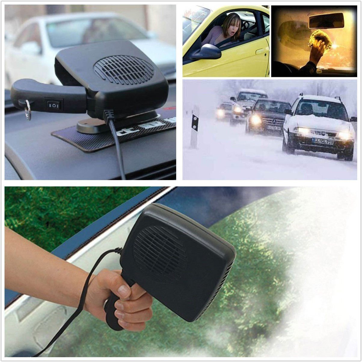 12V 150-300W 2in1 Car Portable Ceramic Heating Cooling Ceramic Dry Heater Fan Defroster Demister CISUNG