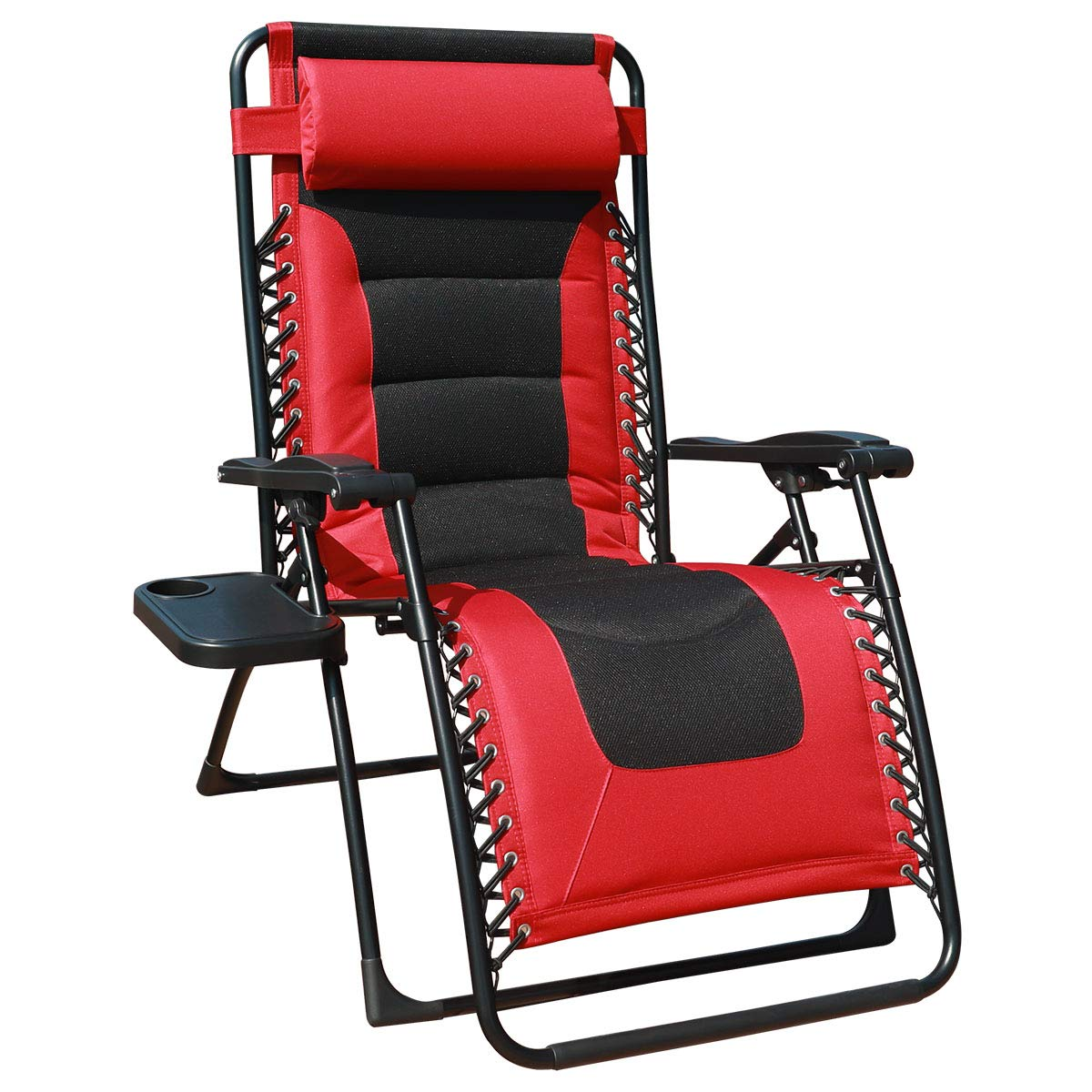 GOLDSUN Oversized Padded Zero Gravity Reclining Chair Adjustable Patio Lounge Chair with Cup Holder for Outdoor Beach Porch,Swimming Pool (Red) by GOLDSUN