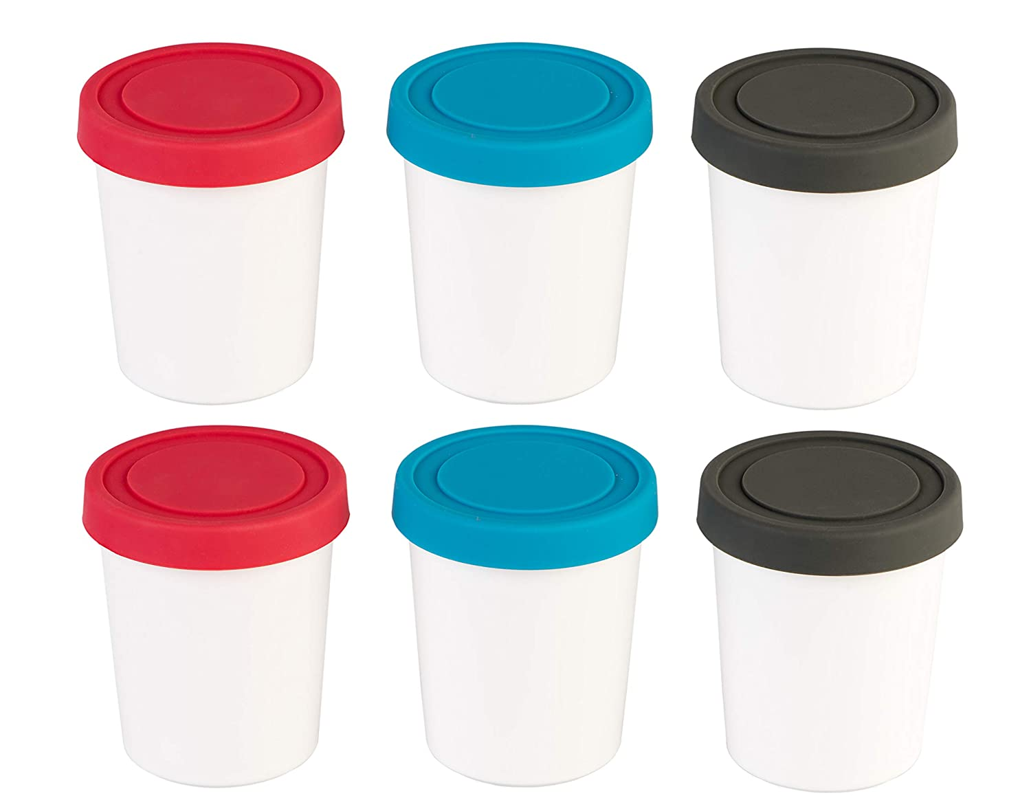 StarPack Portion Control Ice Cream Freezer Containers Set of 6 with Silicone Lids + Bonus 101 Cooking Tips PDF