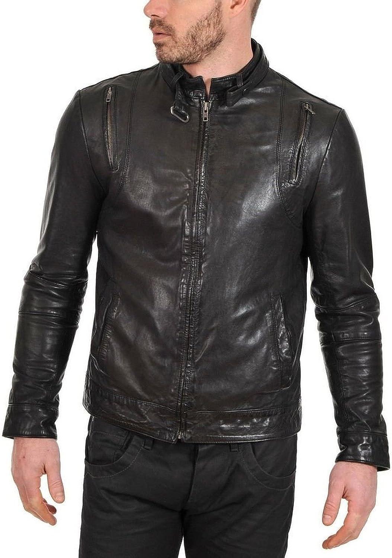 Men Leather Jacket Slim Fit Biker Motorcycle Genuine Cow Leather Jacket LFC685