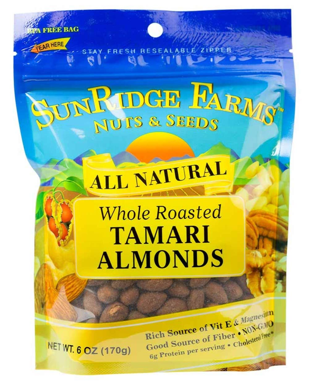 SunRidge Farms Tamari Roasted Almonds, 6 Ounce Bag (Pack of 12)