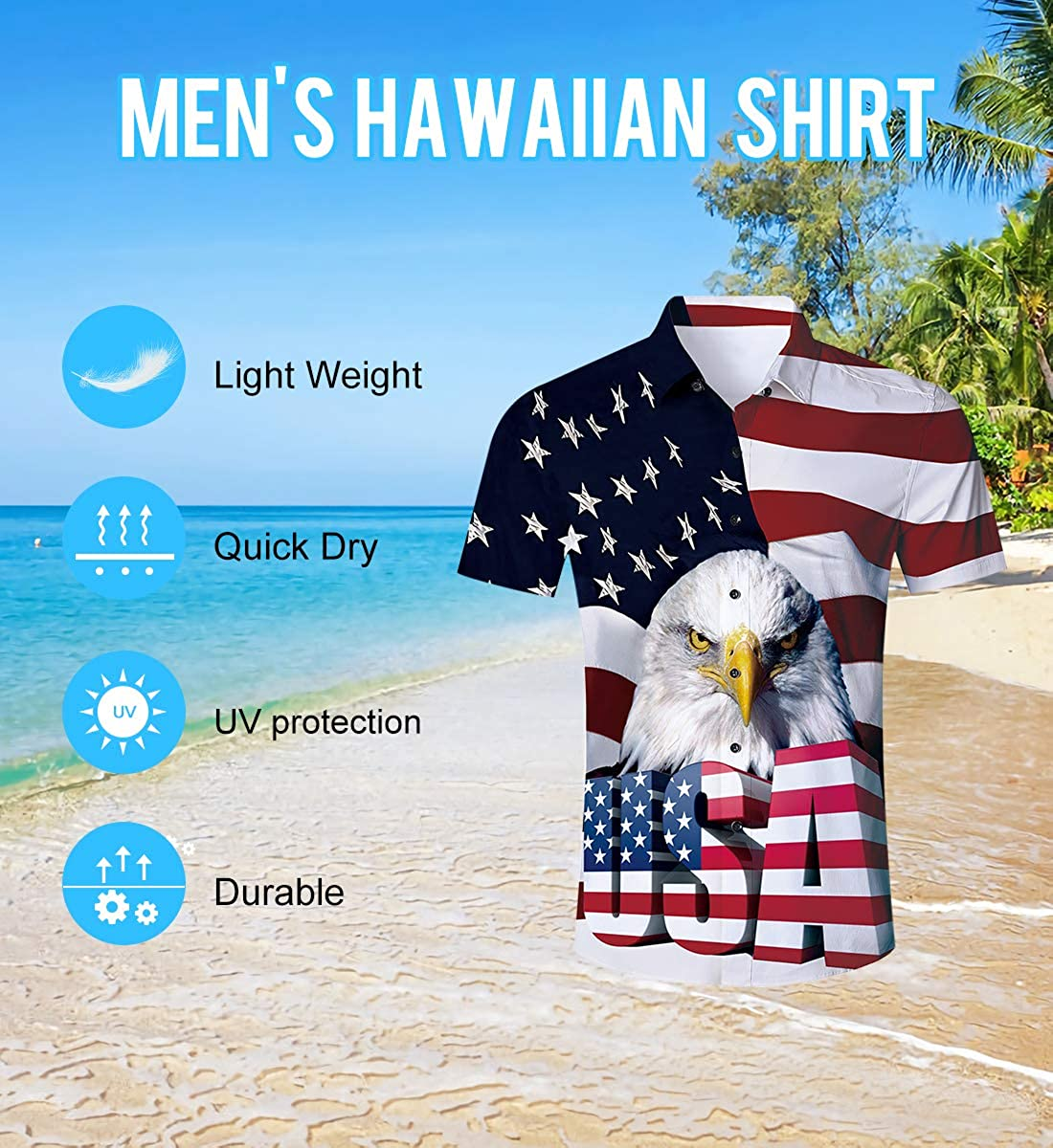 ALISISTER Mens Novelty Button Down Dress Shirts 3D Pattern Summer Hawaiian Tops