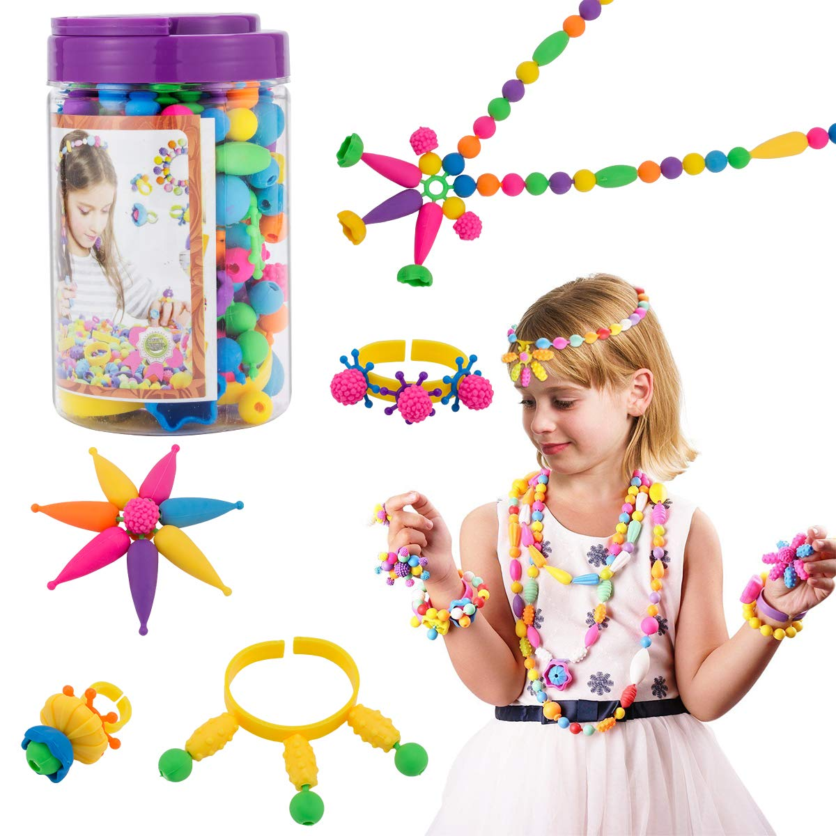 Biubee 180 Pcs Snap Pop Beads Set for Kids Toy Pop Beads DIY Jewelry Making Kit for Ring Bracelet Necklace 3 4 5 6 7 8 Year Old Girls Toddlers