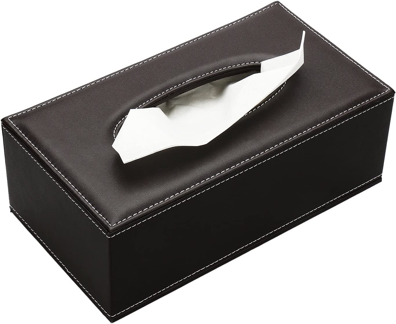 KINGFOM Rectangular Leather Facial Tissue Box Napkin Holder for Home Office, Car Automotive Decoration (Brown PU)