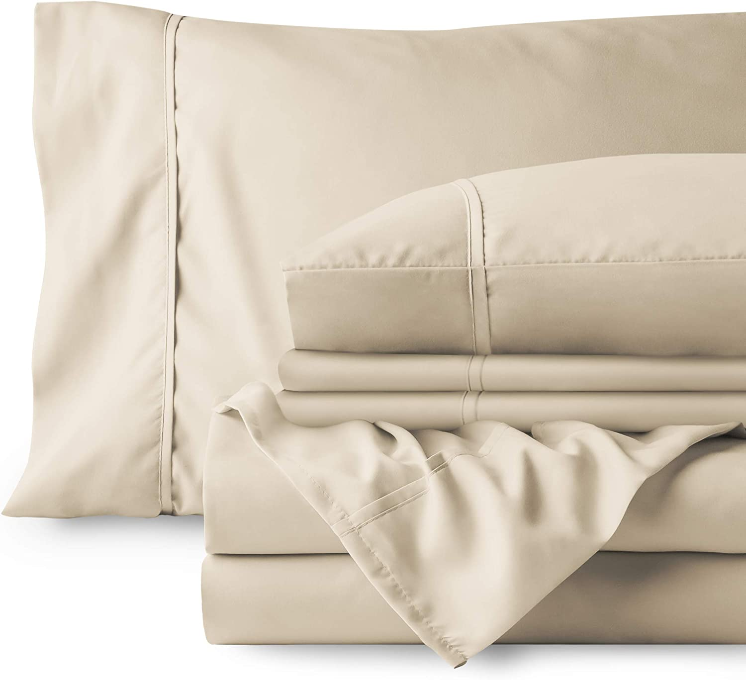 Bare Home Bedding Bundle - 6 Piece Microfiber Sheet Set with 4 Pillowcases (Queen, Sand)