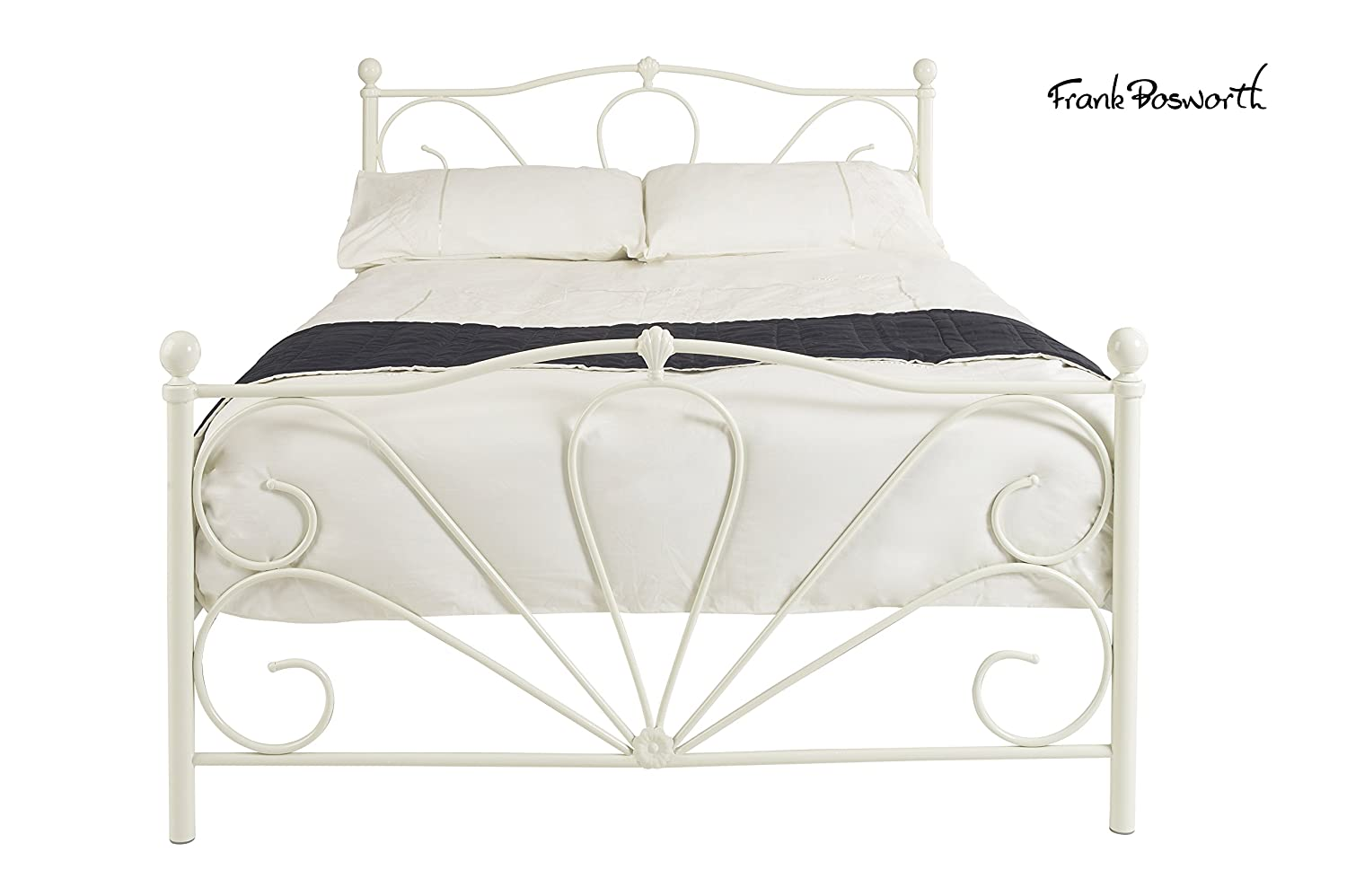 Frank Bosworth CLE-5IVO-M Metal Cleon Bed Frame, King Size, 207 x 153 x 110 cm/5 ft, Ivory