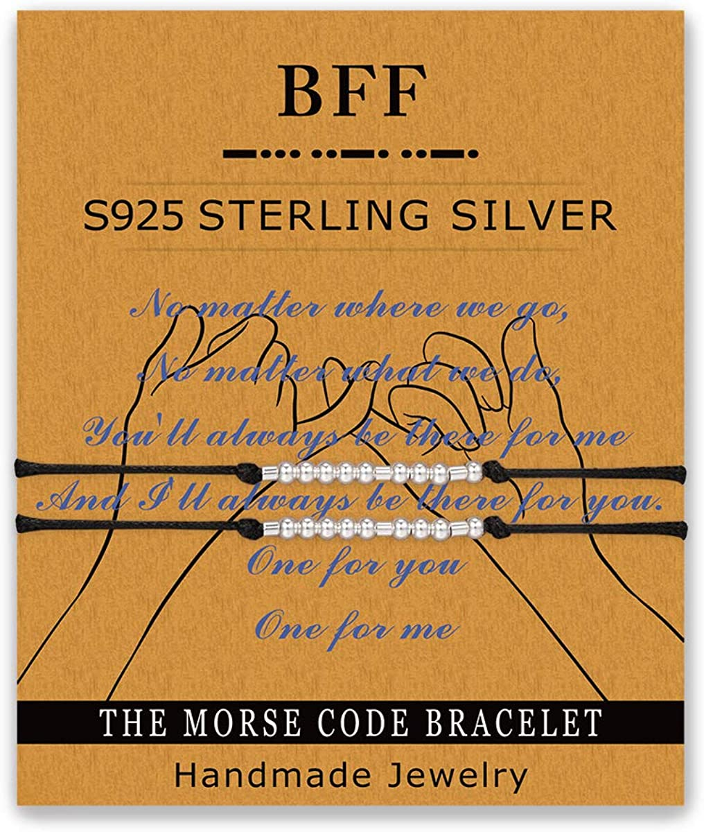 Glimkis Morse Code Bracelets Handmade S925 Sterling Silver Adjustable String Bracelets Friendship Bracelet