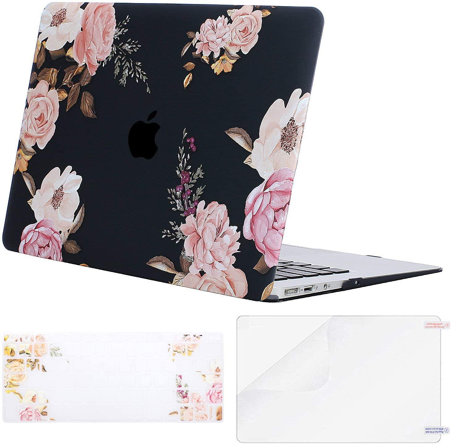MOSISO MacBook Air 11 inch Case (Models: A1370 & A1465), Plastic Peony Hard Shell Case & Keyboard Cover & Screen Protector Compatible with MacBook Air 11 inch, Black