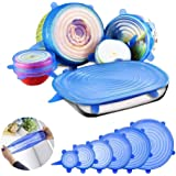 Okayji Vaccum & Fit Microwave Safe Silicone Lids for Bowls Cups Mug Glass Bowl Stretch Reusable Cover Multi Various Size Kitchen Food Safety Set of 6 (Blue)