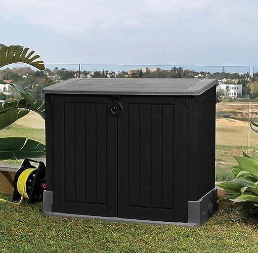 Keter 17197662 - Contenedor para almacenaje, Madera, Gris/Negro: Amazon.es: Jardín