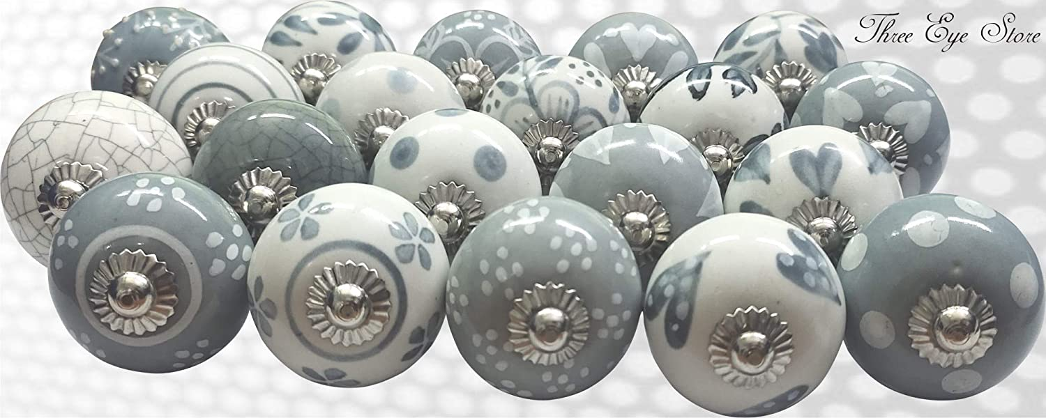 Drawer Three Eye Gray /& White Handpainted Ceramic Door Knob for Cabinet Home Door Handle with Stainless Steel Set of 20