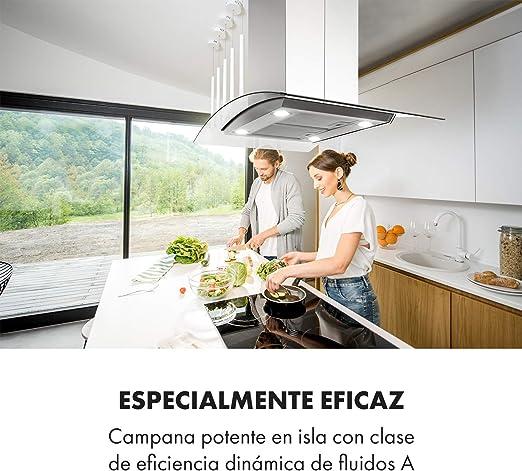 Klarstein Aurelia Campana extractora - Campana isla, Eficiencia energética clase A, 90 cm, capacidad 600 m³/h, 3 niveles, iluminación LED, temporizador, Acero inoxidable y cristal, versión curva: Amazon.es: Hogar