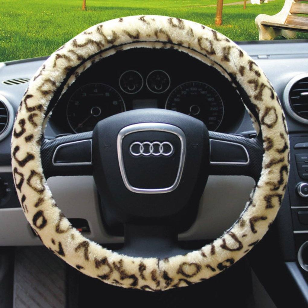 Universal Luxury Automotive Car Winter Ultra Soft Stretch-on Leopard Pattern Wool Plush Steering Wheel Cover Nice Protector *Beige Xmas Gift