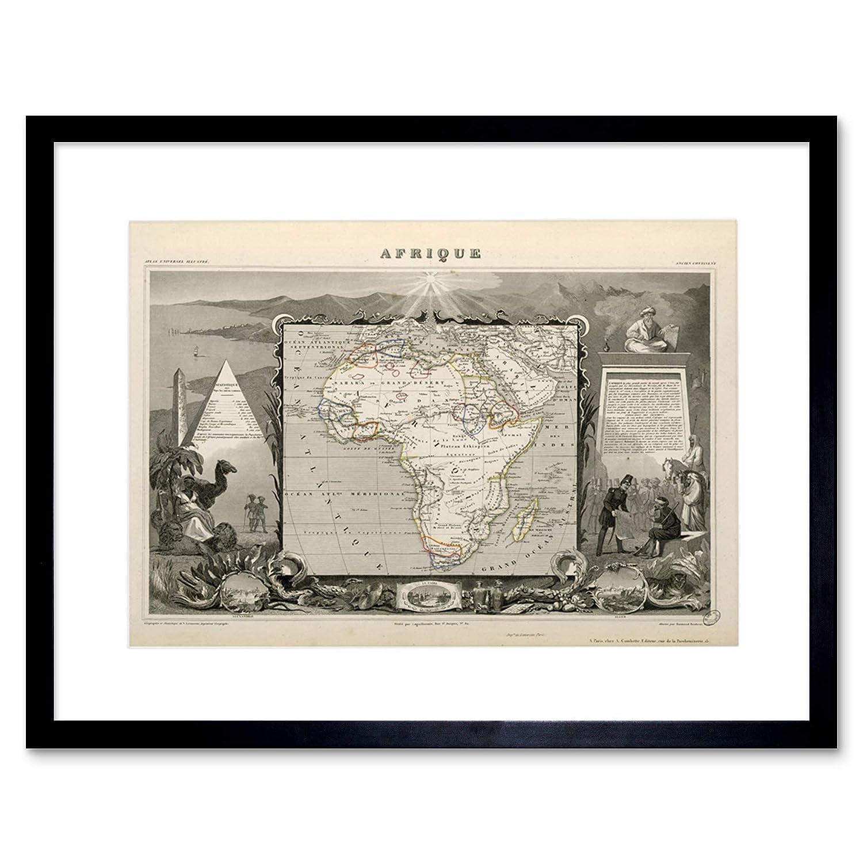 Stampa Artistica da Parete Wee Blue Coo Map Antique Levasseur Africa Continent
