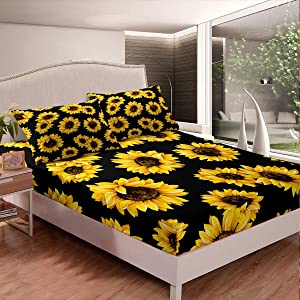 Sunflower Bedding for Kids Girls Lady Yellow Flowers Fitted Sheet Farmhouse Decor Sheet Set Botanical Floral Print on Black Bed Cover Garden Bloom,Deep Pocket for Queen Mattress with 2 Pillow Shams