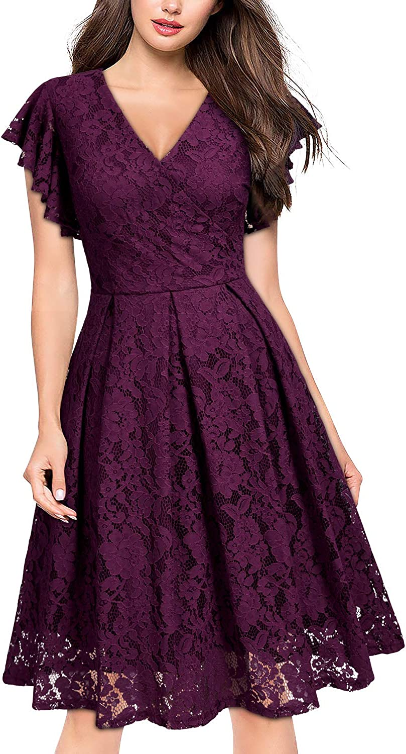 MISSMAY Womens Vintage Floral Lace V Neck Cocktail Party Swing Dress