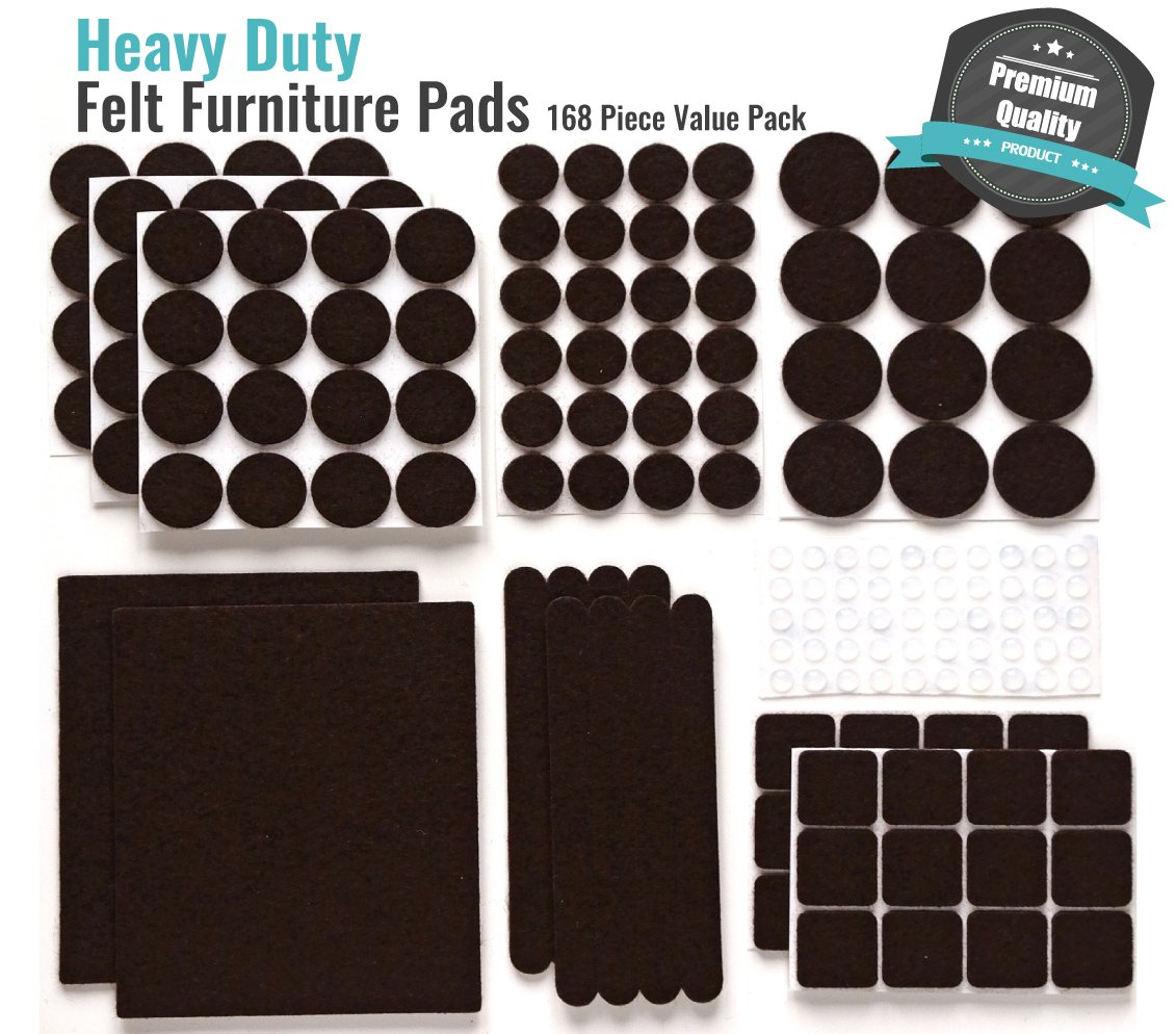 PREMIUM Furniture Pads Set 168 Pcs Value Pack Brown - Heavy Duty Adhesive Felt Pads for Furniture Feet, Assorted Sizes with Noise Dampening Rubber Bumpers. Floor Protectors for Hardwood & Laminate by Gossip (Image #2)