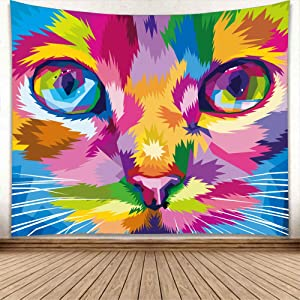 Cute Cartoon Cat Tapestry for Bedroom Decor Aesthetic Cat Paw Print Wall Hanging,Animal Hippie Tapestry Beach Blanket College Dorm Home Decor (Style3,150cm x 200cm(59''x 79''))