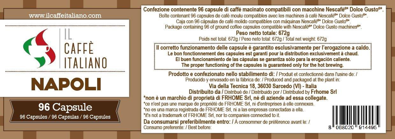 96 cápsulas de café compatibles Nescafé Dolce Gusto - Mezcla Napoli - Il Caffè italiano - FRHOME: Amazon.es: Alimentación y bebidas