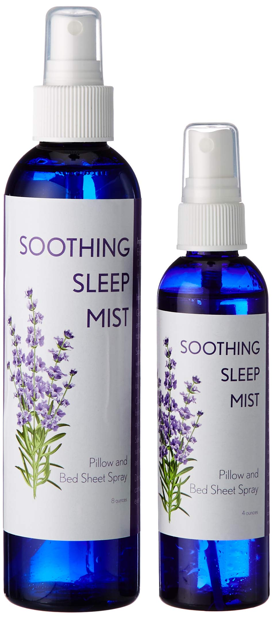 Lavender Mist for Pillows and Bed Sheet Spray. Relaxing Blend of Sage and Lavender and Amethyst Crystals. Reiki Treated. (4oz/8oz Combo Pack) by Soothing Sleep Mist
