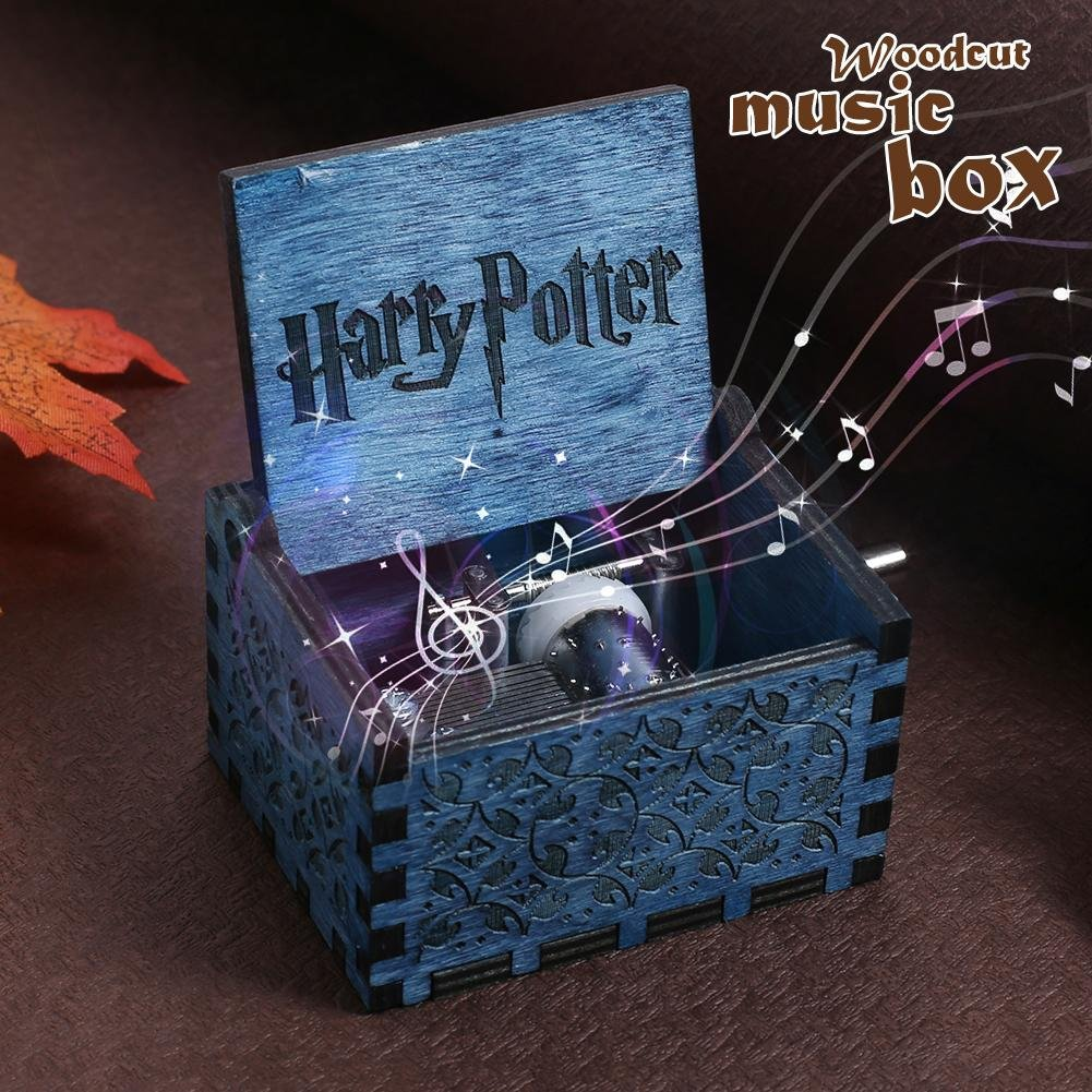 NELNISSA Blue Harry Potter Music Box Engraved Wooden Music Box Crafts Toys Xmas Gift